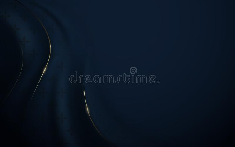 Abstract luxury dark blue and gold background. Wavy silk fabric texture stock illustration