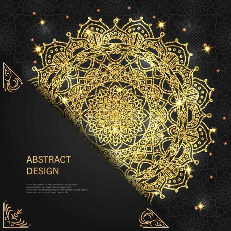 Abstract luxury glitter mandala on dark background with shine light. Ornament elegant invitation for wedding card. Gift. Invite with royal motif. Backdrop cover royalty free illustration