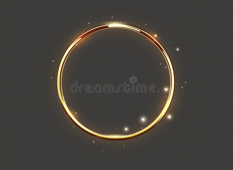 Abstract luxury golden glow ring on transparent background. Vector light circles spotlight and sparks light effect. Gold color vector illustration