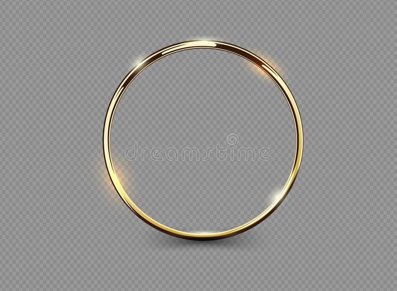Abstract luxury golden ring on transparent background. Vector light circles spotlight light effect. Gold color round frame. royalty free illustration