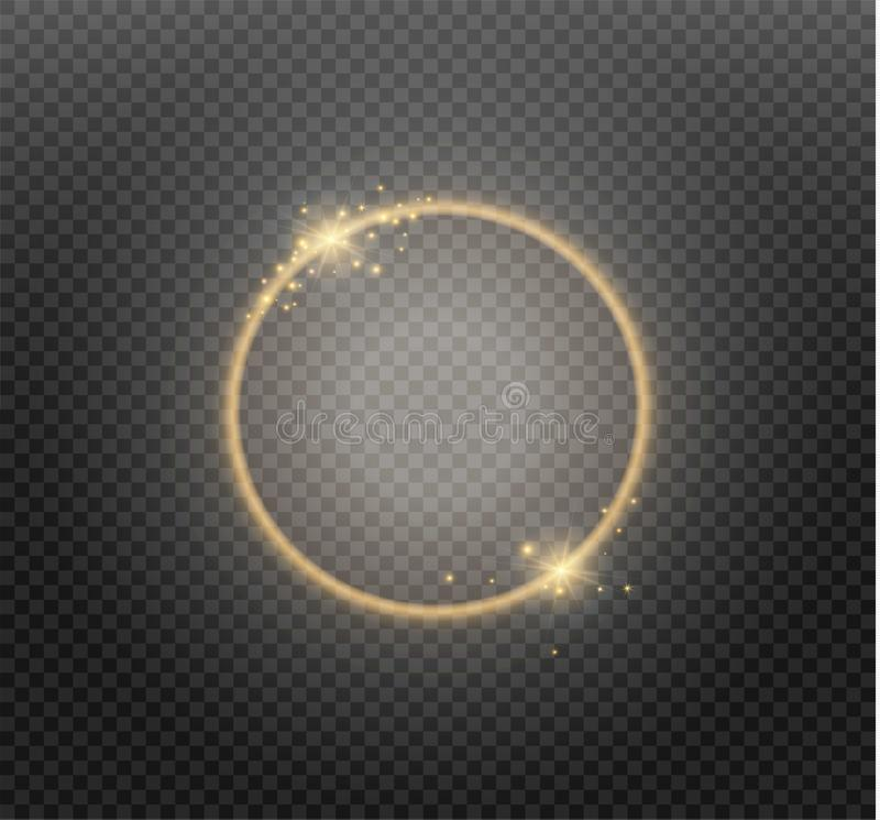 Abstract luxury golden ring on transparent background. Vector light circles spotlight light effect. Gold color round vector illustration