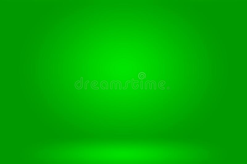 Abstract luxury green gradient background empty studio room wallpaper for display product ad website template.  royalty free illustration