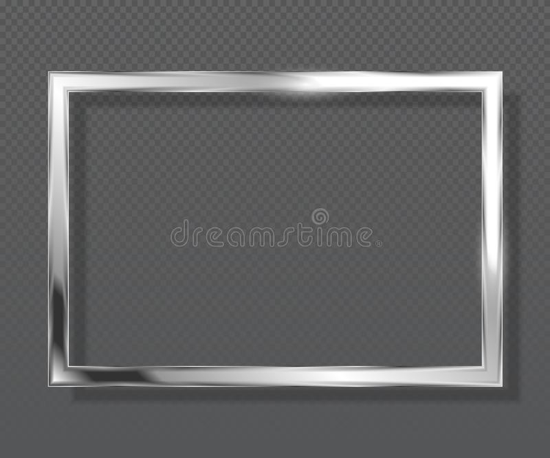Abstract luxury metallic square frame on transparent background. Silver color frame. vector illustration