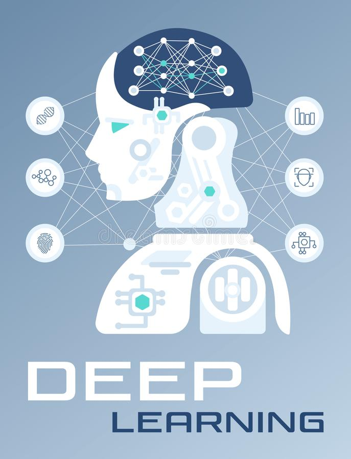 Abstract Machine and Deep Learning, Artificial Intelligence vector illustration