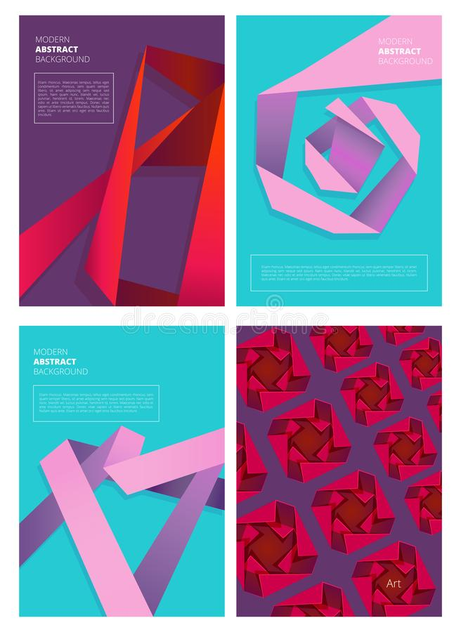 Abstract magazine covers. Modern colored shapes gradient forms geometry design vector background with place for text vector illustration