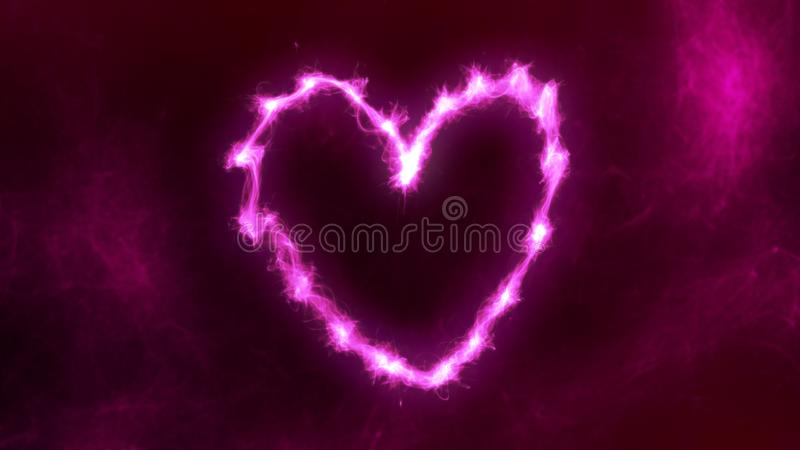 Abstract Magenta Heart Flame Effect. Abstract vibrant and colorful heart flame effect on a dark background. Modern and futuristic look stock images