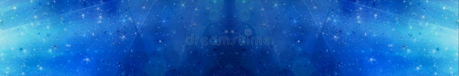 Abstract magic blue panoramic background with bokeh lights royalty free stock images