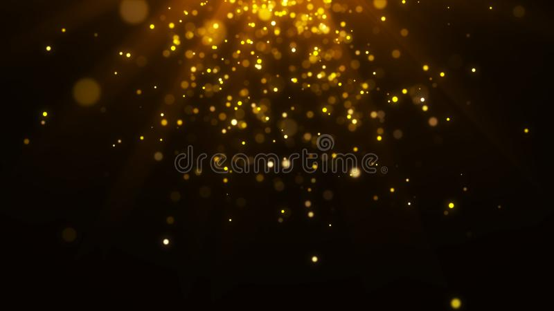 Abstract magic light background. Gold bokeh background. 3d rendering. Abstract magic light background. Gold bokeh background stock illustration