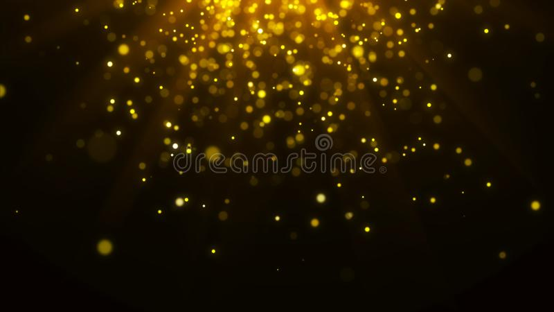Abstract magic light background. Gold bokeh confetti background. 3d rendering vector illustration