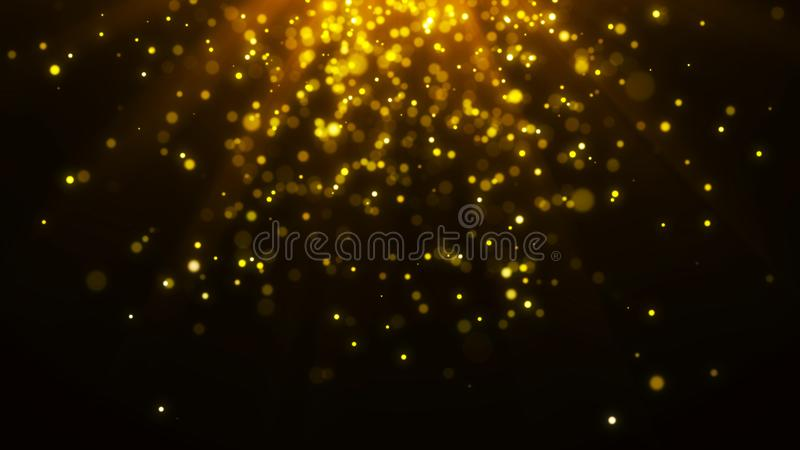 Abstract magic light background. Gold bokeh confetti background. 3d rendering. Abstract magic light background. Gold bokeh background. 3d rendering stock illustration