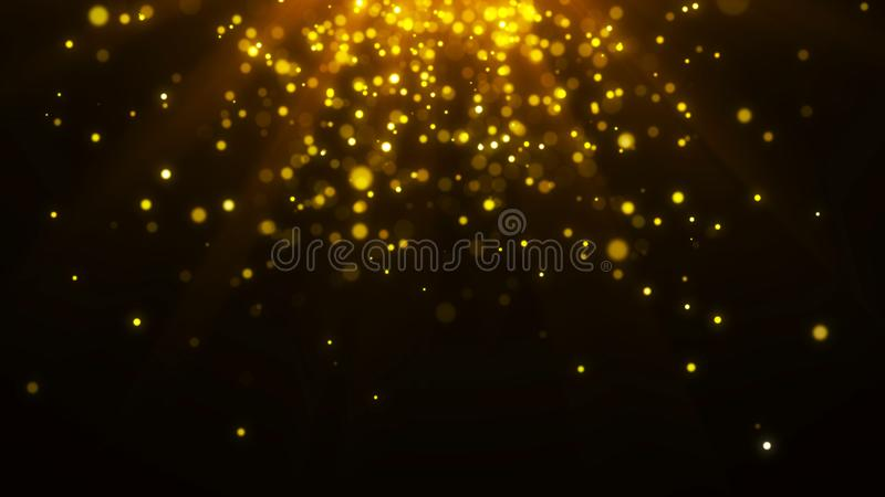 Abstract magic light background. Gold bokeh confetti background. 3d rendering. Abstract magic light background. Gold bokeh background. 3d rendering royalty free illustration