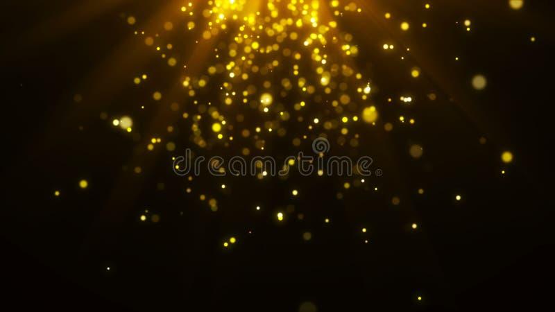 Abstract magic light background. Gold bokeh confetti background. 3d rendering. Abstract magic light background. Gold bokeh background. 3d rendering vector illustration