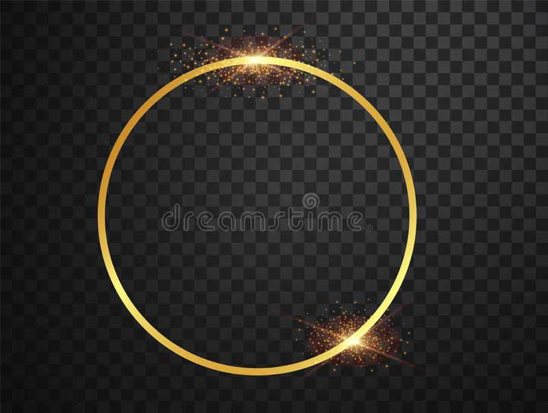 Abstract magical glowing golden banner.Magic circle. Merry Christmas. Round gold shiny frame with light bursts. Gold stock illustration