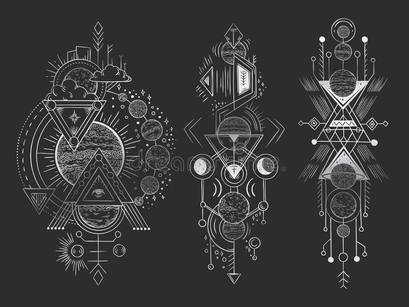 Abstract magical tattoo. Sacred geometric moon, mystic revelation arrows lines and mysticism harmony hand drawn vector stock illustration