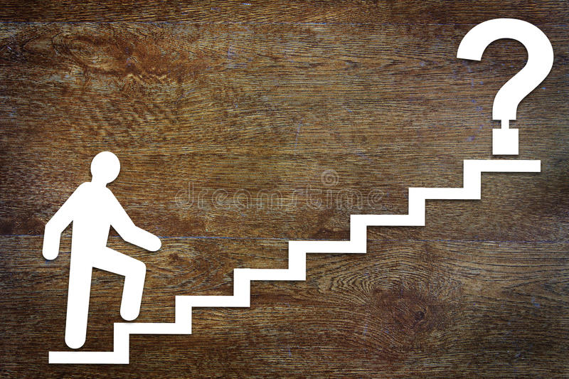 Abstract man going upstairs to his purpose. Conceptual image stock photos