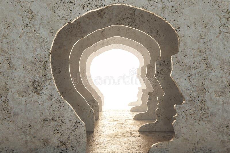 Abstract man head corridor vector illustration