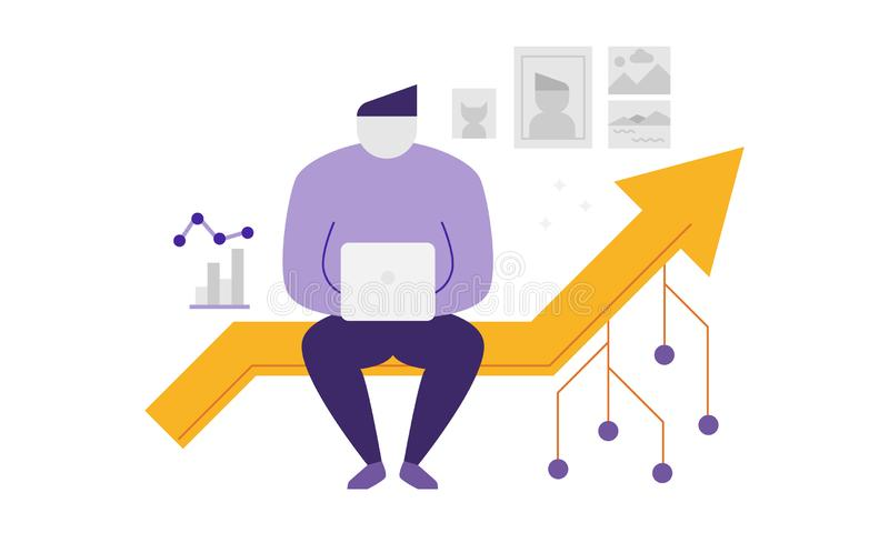 Man sitting on line graph. An illustration of a man sitting on a line graph royalty free illustration