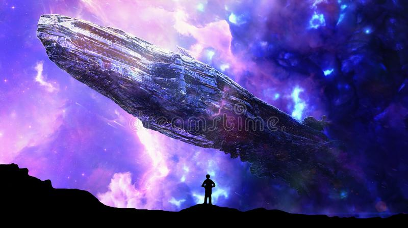 Abstract man standing while an alien spaceship hovers over him. Abstract man standing on a hill watching a spaceship hovering over him in a super energetic vector illustration