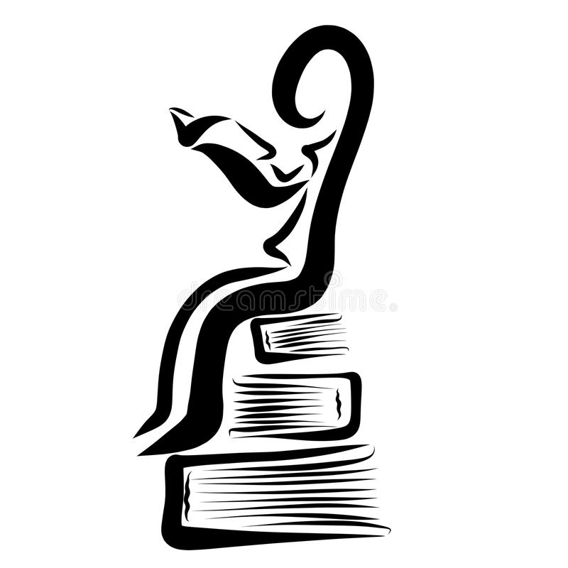 Abstract man studying a book sitting on a pile of books royalty free illustration