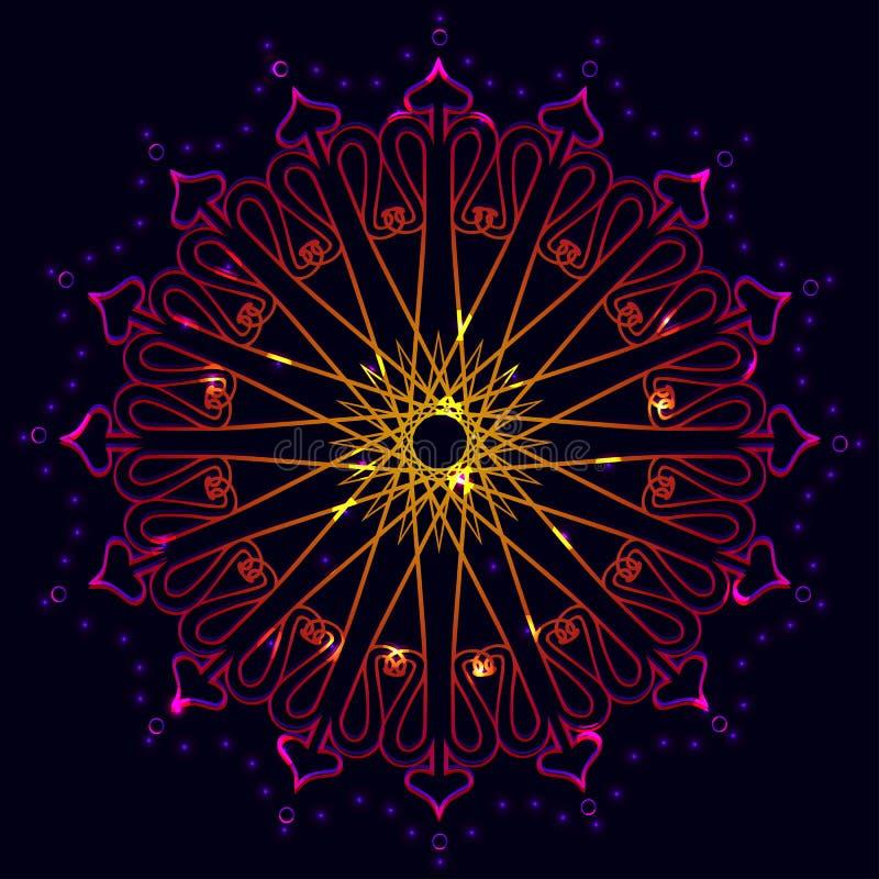 Abstract mandala isolated on black background. royalty free illustration