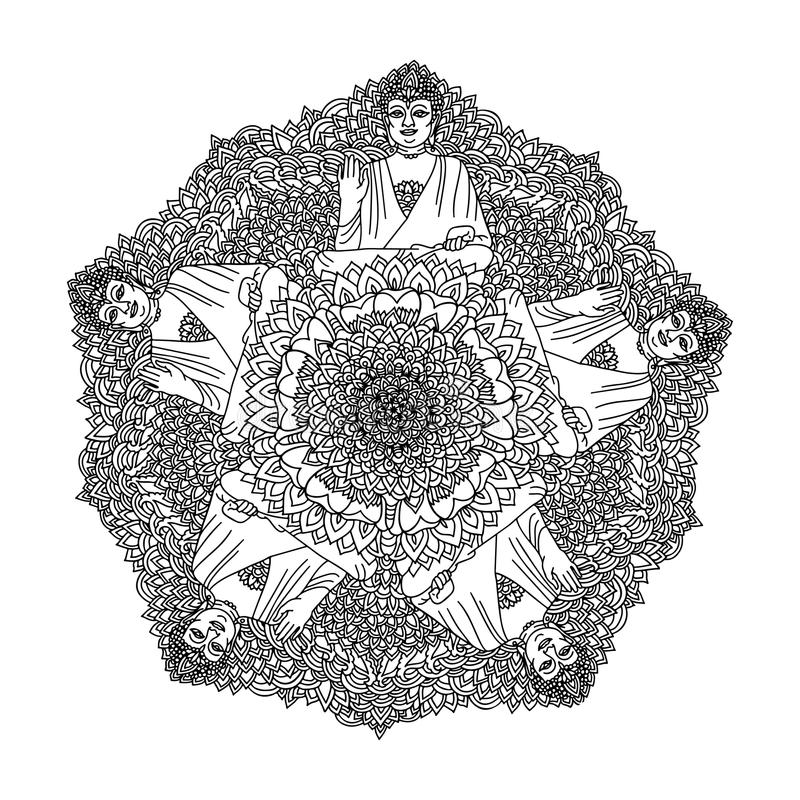 Abstract mandala ornament. Asian pattern. Black and white authentic background with Buddha. Vector illustration. Abstract mandala ornament. Asian pattern. Black royalty free illustration