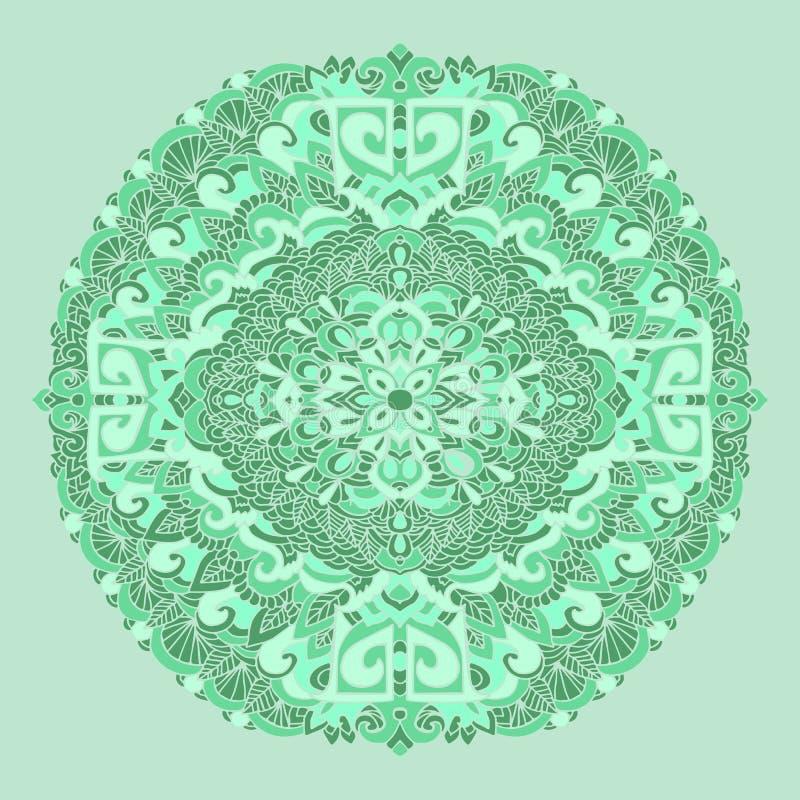 Abstract mandala ornament. Asian pattern. Green authentic background. Vector illustration. Tibetan print. Abstract mandala ornament. Asian pattern. Green vector illustration