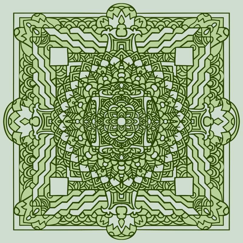 Abstract mandala ornament. Asian pattern. Green authentic background. Vector illustration. Tibetan tanka print. Abstract mandala ornament. Asian pattern. Green vector illustration