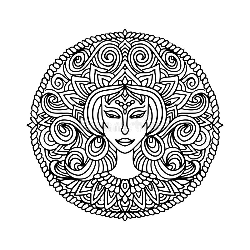 Abstract mandala ornament. Asian pattern with woman face portrait. Black and white authentic background. Vector. Illustration royalty free illustration