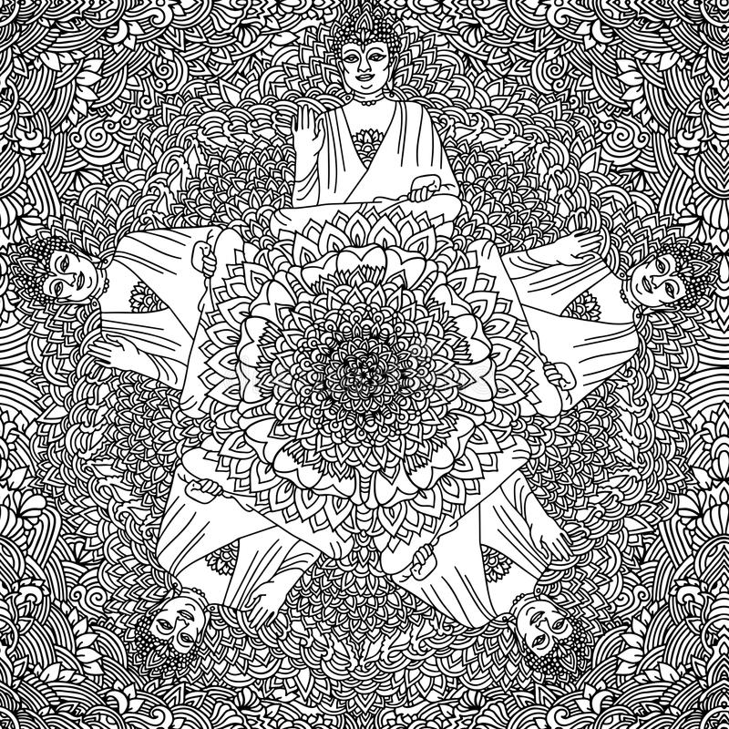 Abstract mandala ornament. Asian seamless pattern. Black and white authentic background with Buddha. Vector illustration. Abstract mandala ornament. Asian royalty free illustration