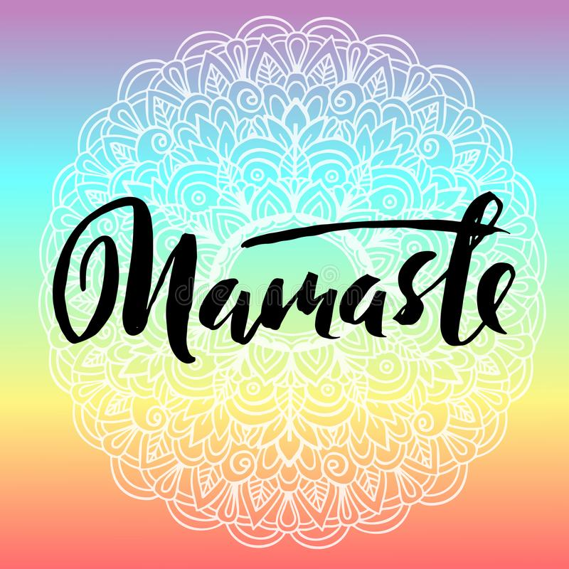 download abstract mandala ornament namaste brush lettering asian pattern authentic background vector