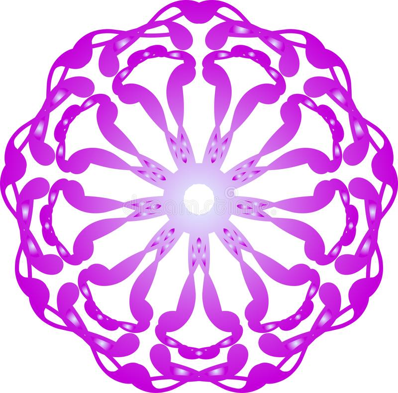 Abstract mandala pattern. Round ornament design. Abstract stylized mandala pattern. Round decorative ornament design. Purple lacy floral shape stock illustration