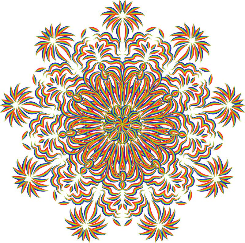 Abstract mandala pattern. Round ornament design. Abstract stylized multicolored line mandala pattern. Round decorative ornament design vector illustration