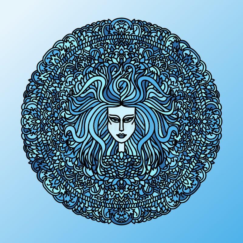Abstract mandalaornament Aziatisch patroon met het lange gezicht van het haarmeisje Blauwe marineachtergrond Vector illustratie stock illustratie
