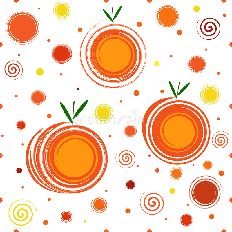 Abstract Mandarins Seamless Pattern. Seamless Pattern consisting of abstract mandarins and decorative elements in the form of spirals stock illustration