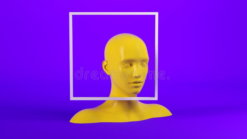 Abstract mannequin female head with white frame on background. Fashion woman. Yellow human face. 3d render illustration royalty free illustration