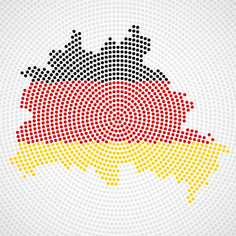 Abstract map Berlin of radial dots with flag Germany inside royalty free illustration