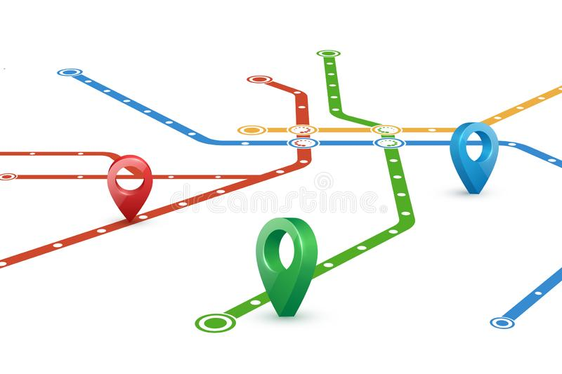 Abstract map of subway routes. Perspective view. Realistic 3D pointers. Vector empty template on white background stock illustration