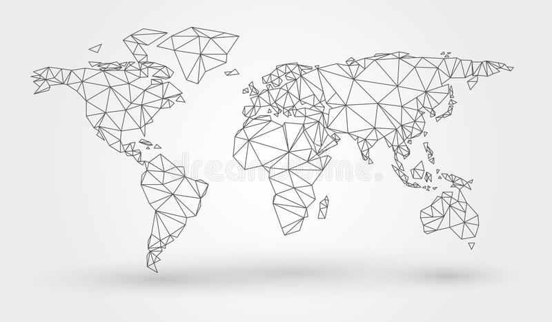 Abstract map of the world. With connected triangular shapes formed from lines stock illustration