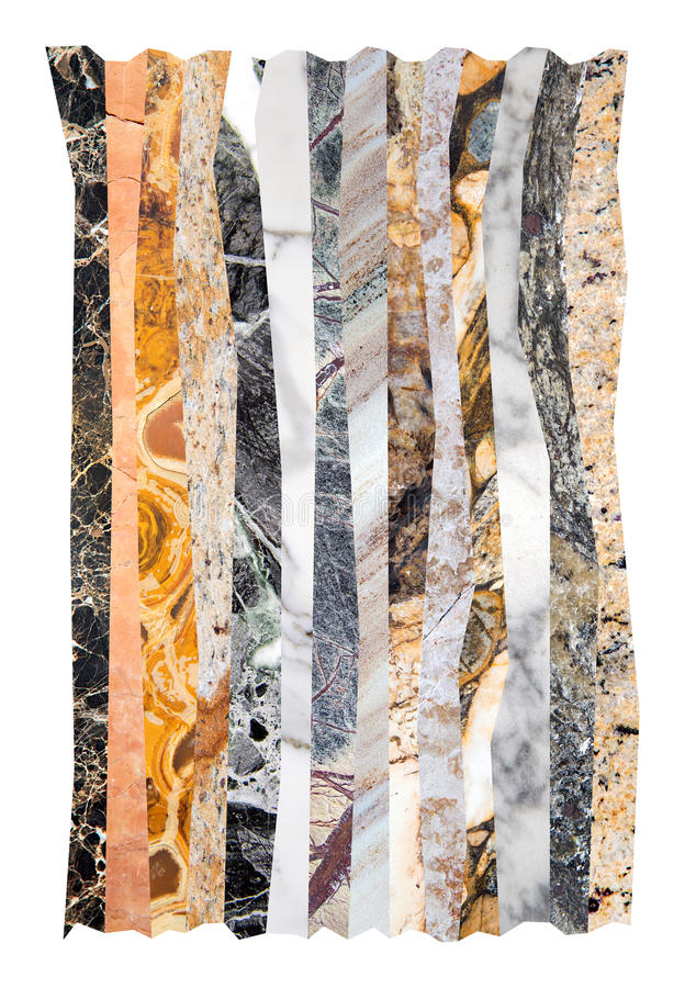 Abstract marble collage. Abstract line collage poster made of various marbles royalty free stock image