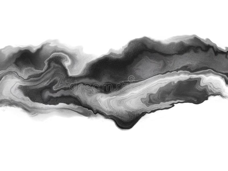 Abstract marble piece of art in black and white color on white background. vector illustration