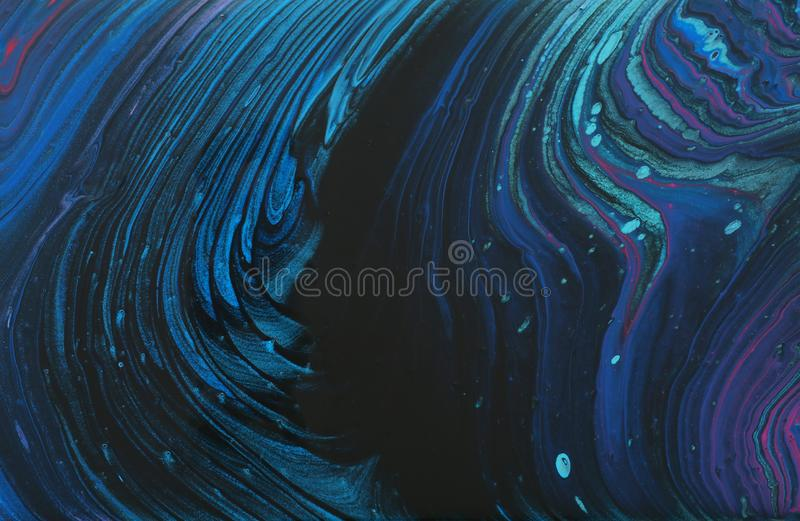 Abstract marbleized effect background. Blue, mint and black creative colors.  stock image