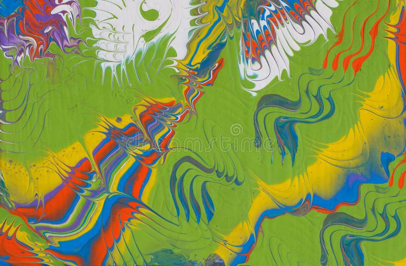 Abstract multicolored handmade background. Fluid art. stock images