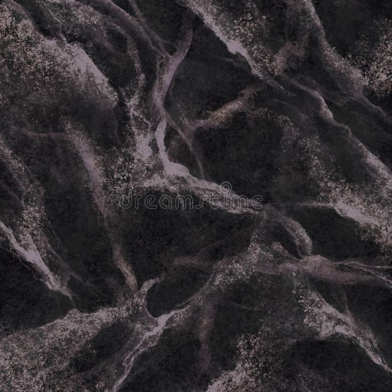 Abstract marbling texture, black marble with white veins, artificial stone illustration, hand painted background, wallpaper royalty free stock photo