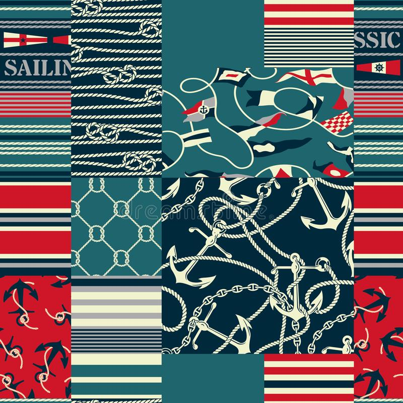 Nautical and marina elements patchwork wallpaper vector illustration