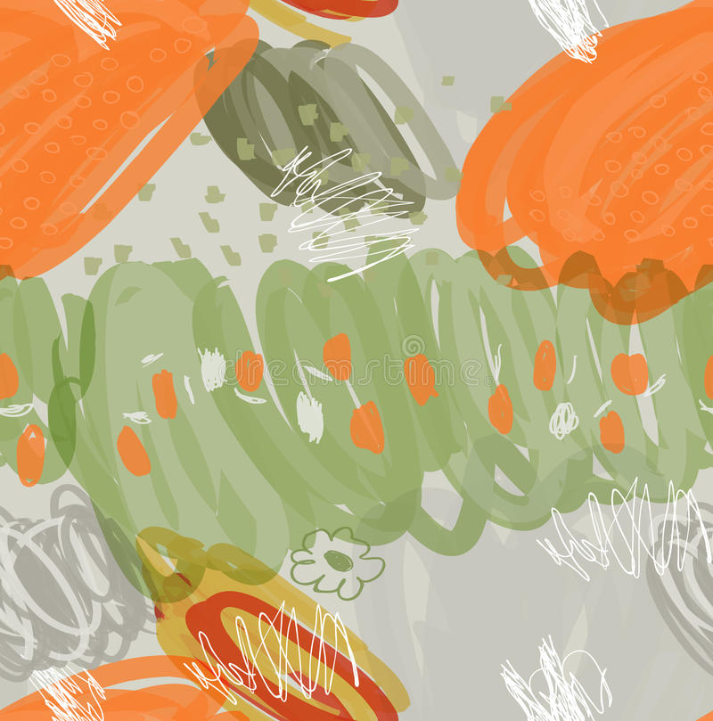 Abstract marker ink strokes and dots orange green gray vector illustration
