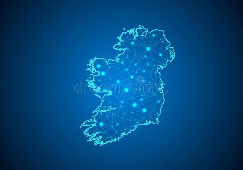 Abstract mash line and point scales on dark background with Map of ireland. Wire frame 3D mesh polygonal network line, design sphere, dot and structure stock illustration