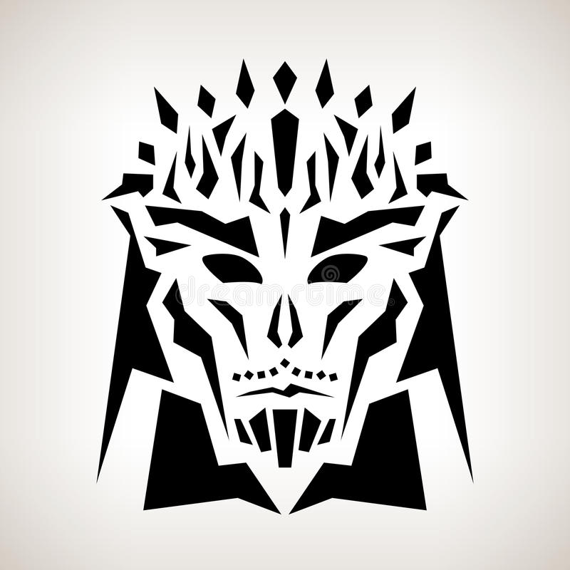 Abstract Mask, Tribal Style. Tattoo, Mask on a Light Background, Black and White Vector Illustration royalty free illustration