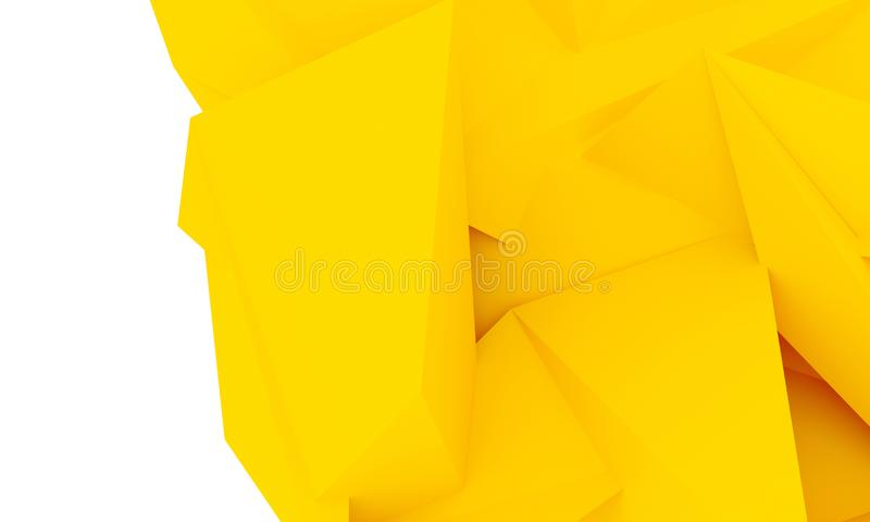 Abstract material design geometric yellow colour background. Template for bisiness or art presentation. 3d illustration. S royalty free stock images