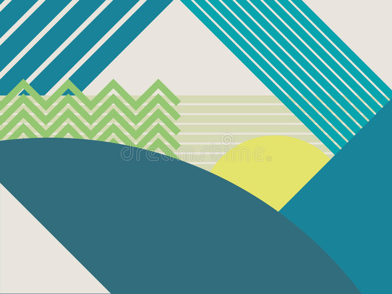 Abstract material design landscape vector background. Mountains and forests polygonal geometric shapes. royalty free illustration