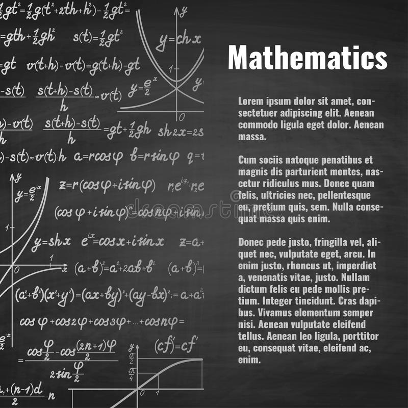 Abstract math school background with copy space vector illustration